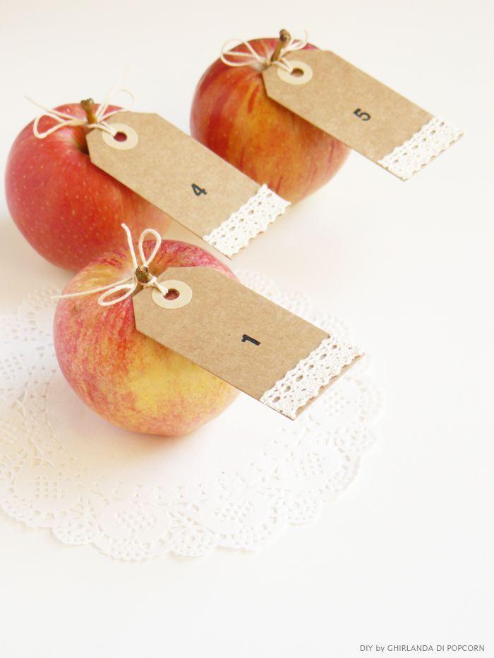 apple table number Ghirlanda di Popcorn   Tutorial Sposa: scopri i segnaposto d autunno..