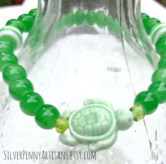 Apple Green Sea Turtle Stretch Bracelet.  by SilverPennyArtisans  Come check it out at Silverpennyartisans.etsy.com for 10% off use coupon code PINTEREST10