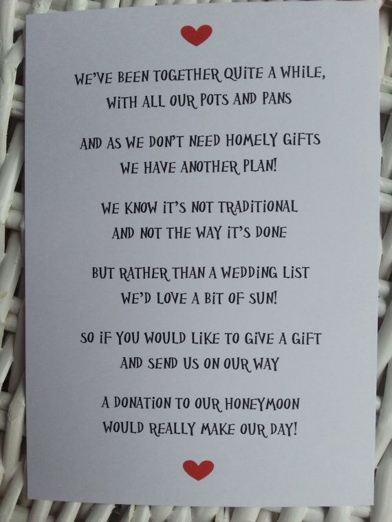 Best 25 wedding gift poem ideas on pinterest honeymoon for Top things to register for wedding