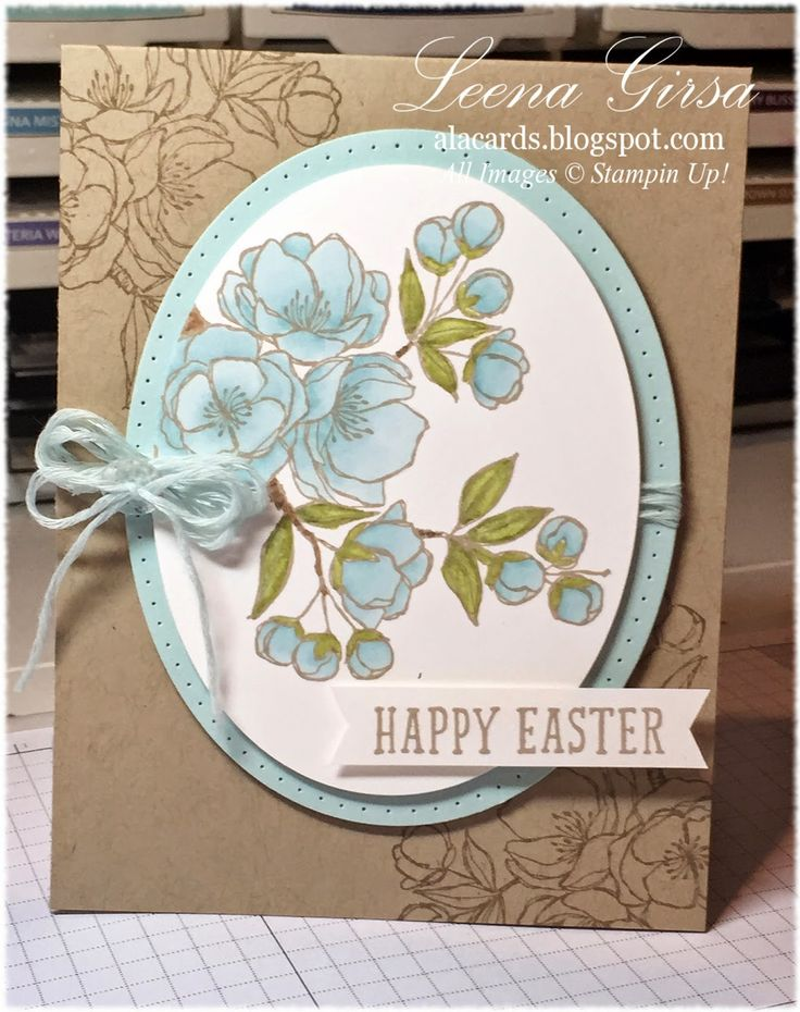 handmade Easter card from A La Cards: Is it Spring yet? ... kraft base soft blues in paper, coloring and string ... Stampin' Up!