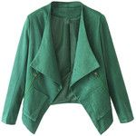 WithChic Green Faux Suede Long Sleeve Slim Blazer
