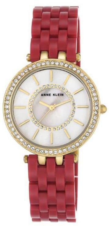 Anne Klein Crystal-Accented Mother-of-Pearl Dial Red Bracelet Watch