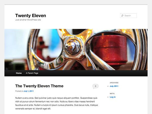 The 2011 theme for WordPress is sophisticated, lightweight, and adaptable. Make it yours with a custom menu, header image, and background — then go further with available theme options for light or dark color scheme, custom link colors, and three layout choices.   http://www.csshero.org/themes/twenty-eleven/