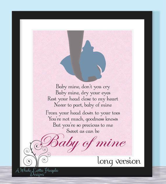 Disney Dumbo Quote Typographic Print - BABY OF MINE {Pink Version} Song of Dumbo's Mom - Wall art, wall decor, nursery, children's room