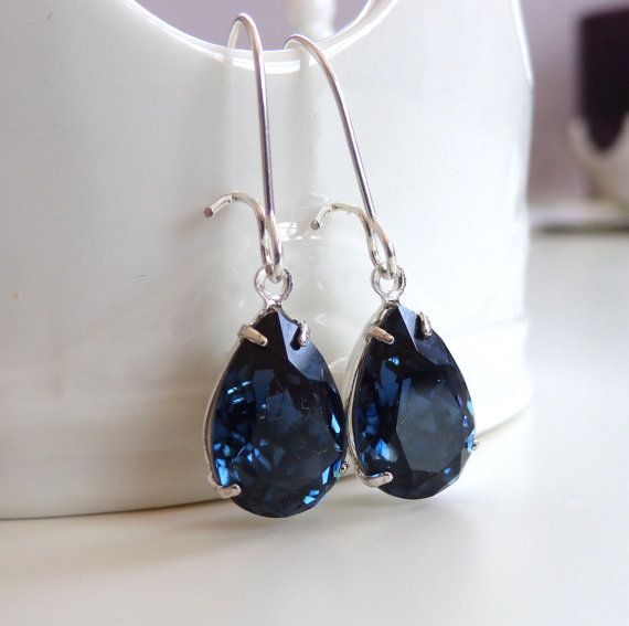 Navy Blue Crystal Drop Earrings Bridal Jewelry Dark