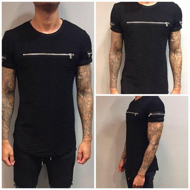 www.dopedfashion.nl/en #zipped #tshirt #urban #rits #heren #mode #fashion #mens #street #urban #cool #longshirt #shirt