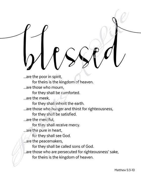 Beatitudes Blessed Matthew 5 3 10 Christian Wall Art Instant