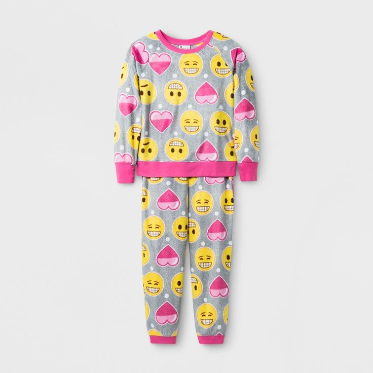 Girls' Emoji 2 Piece Pajama Set - Gray 10