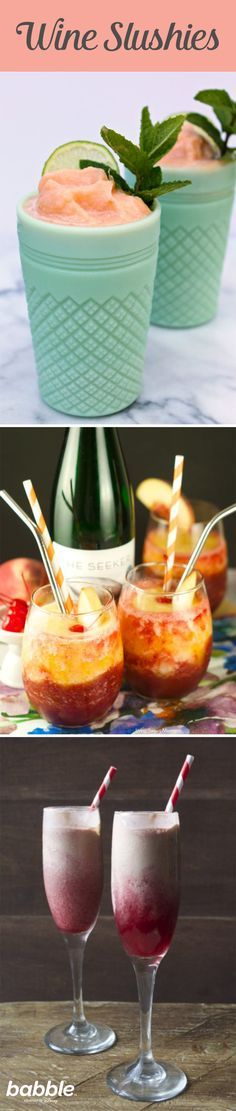 You can make a wine slushy from just about every type of wine. From a fruity berry port to a cherry vanilla moscato, these fun frozen flavors are a great way to change up your usual glass of wine. These refreshing wine recipes are great for cooling off during a hot summer day. Relax and enjoy these delicious Wine Smoothie recipes.