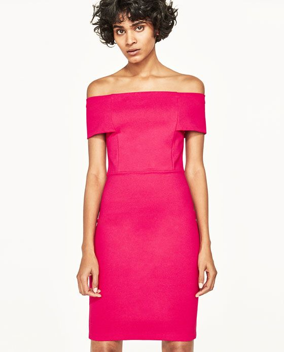 Image 4 of DRESS WITH BARDOT NECKLINE from Zara