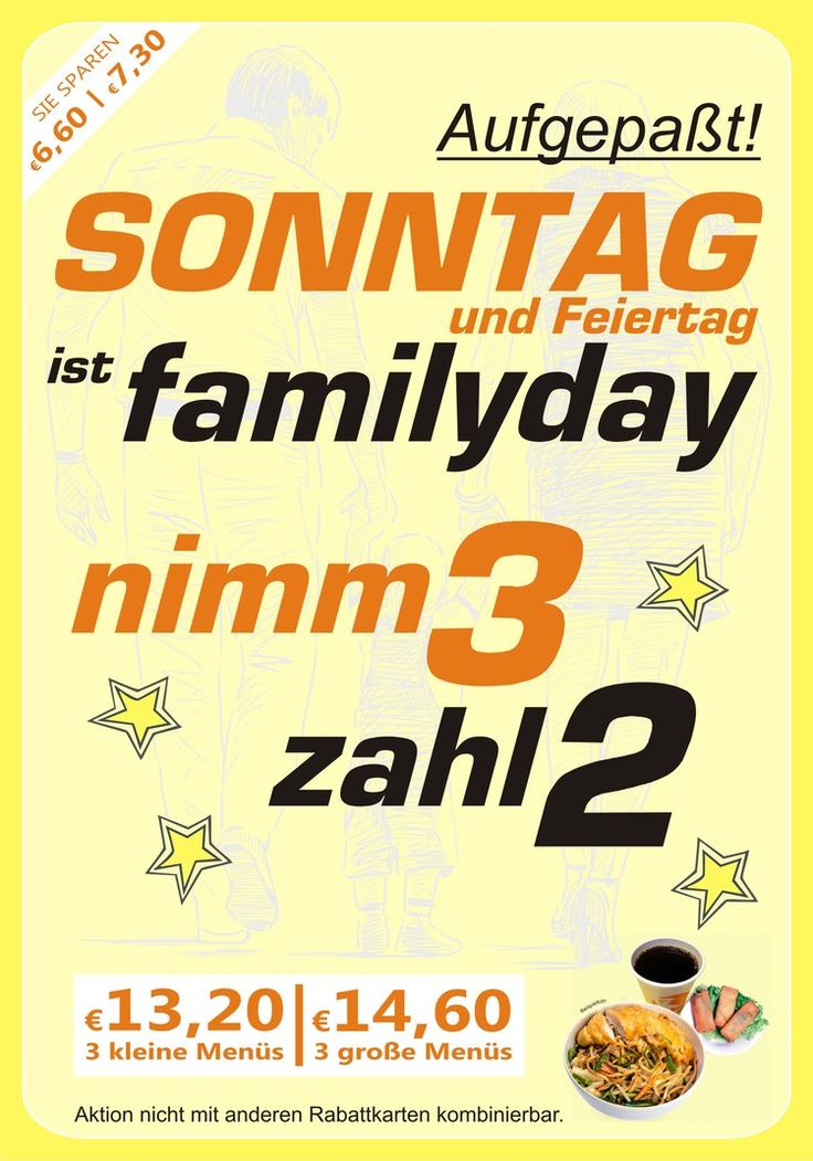 Familyday bei KungFu: nimm 3 zahl 2 — KUNG FU - WOK | REIS | NUDELN