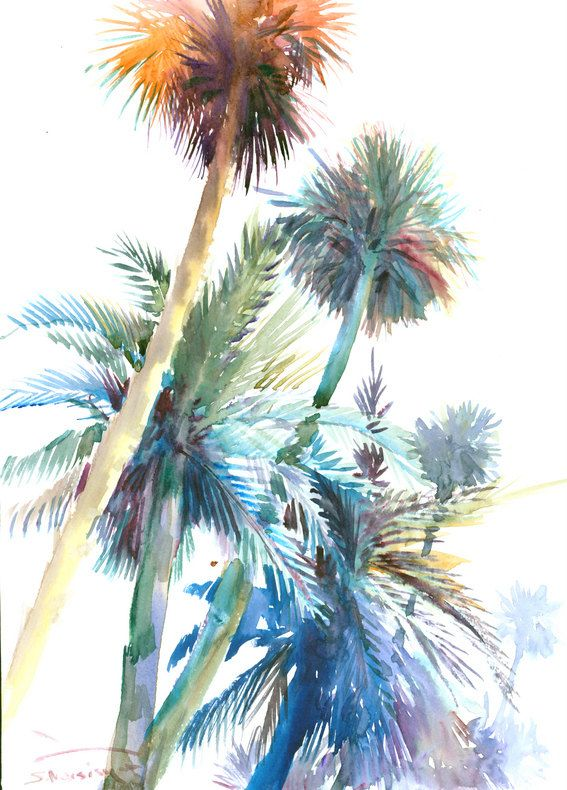 Palm trees, original watercolor painting, 16 X 12 in, sage, rainbow, mild colors minimalist wall painting
