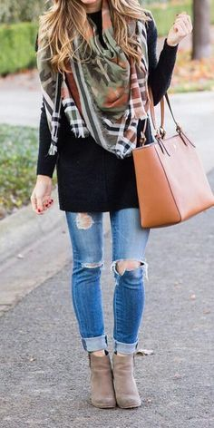 cute casual outfit idea / scarf + bag + ripped jeans + boots + sweater