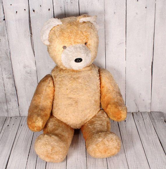 Large teddy bear 1950s - 26 inches tall teddy bear - Well-loved German teddy bear - Antique teddy bear - Vintage straw stuffed bear