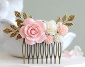 Pink Rose Hair Comb Ivory Rose Hair Comb Pink and Ivory Wedding Hair Accessory Bridal Hair Comb Leaf Hair Comb Vintage Style Country Chic