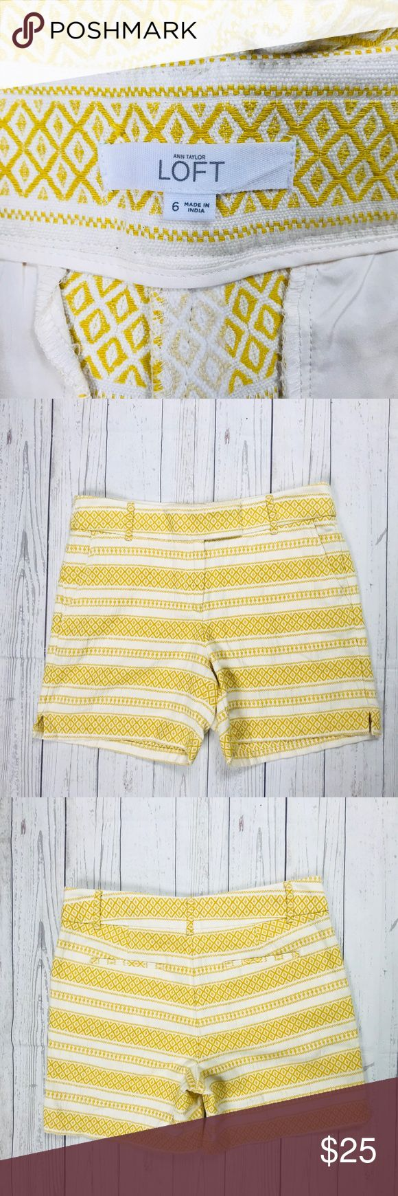 Ann Taylor Loft Riviera Shorts Size 6 Yellow Cream Measurements Approximate Laying Flat  Waist 17  Hips 20  Length 6  No rips, stains or missing buttons  Ann Taylor Loft The Limited Express New York and Company Summer Spring LOFT Shorts