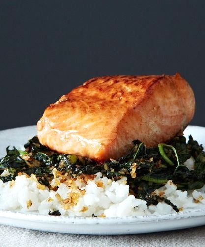 Crispy coconut kale with roasted salmon + coconut rice.