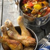 Chicken with ratatouille vegetables