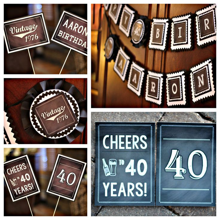 Chalkboard 40th Birthday Party Decorations. Masculine / Vintage Deluxe 4 piece party box. Customizable. by CharmingTouchParties on Etsy
