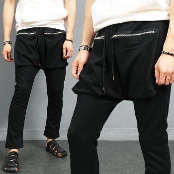 Semi Baggy Zipper Cargo Pocket Black Sweatpants