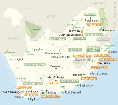 Map of South Africa with links to benchmarked accomodation website