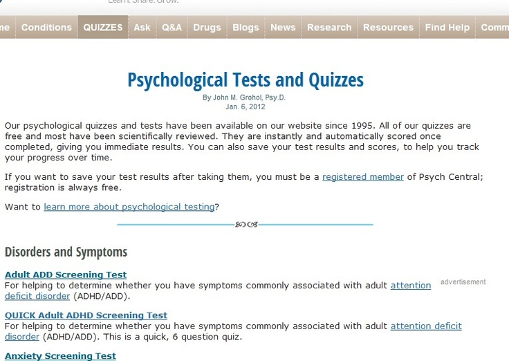 Psychological Tests and Quizzes