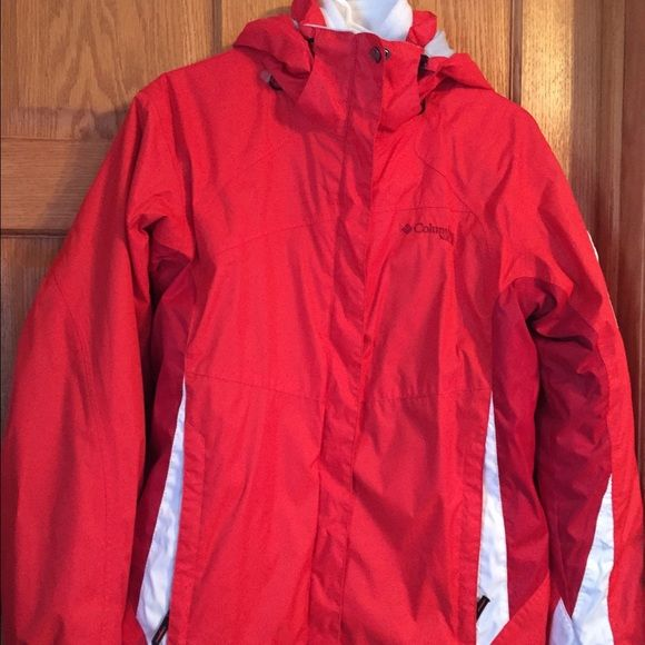 Woman's Columbia coat Reddish-orange Columbia coat. Removable inside fleece. Great condition!  2 small stains on front of jacket. Not noticeable unless you are looking for them. Columbia Jackets & Coats