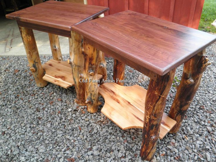 Good Aspen Log End Tables/Nightstands Old Farm Amish Furniture   Dayton, PA (814