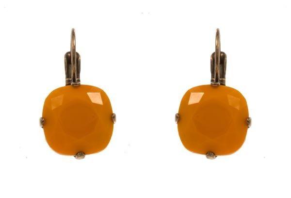 """Doralin"" handmade hook earrings with orange beads, by Art Wear Dimitriadis"