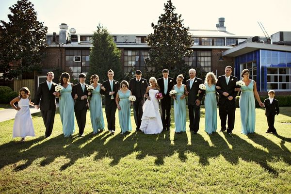 Wedding Day by jHenderson Studios Franklin Factory Wedding Bridal Party in Mint Green