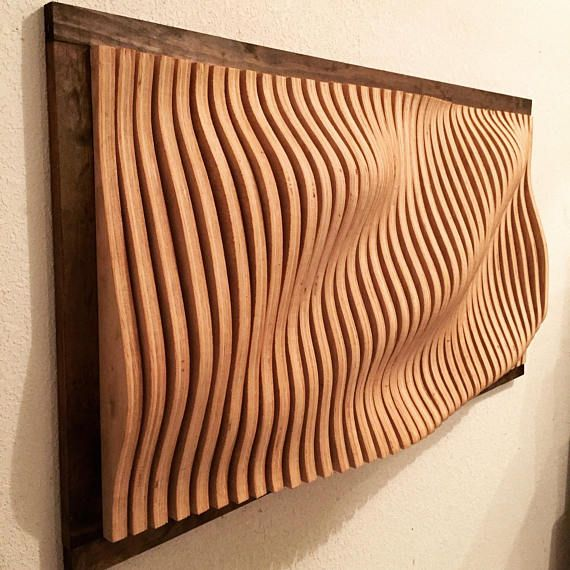 """Parametric Wall Art made from 40 individually cut piece of furniture grade oak plywood. The piece is 43""""x22""""x5.5"""" and weights approximately 60 pounds. It hangs easily by two predrilled keyhole slots on the back and all the handing hardware is included. Also included is a mounting"""