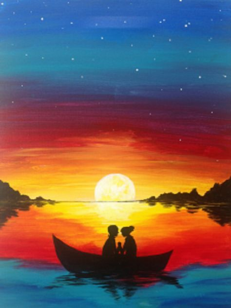 A bright, colorful, romantic scene of a couple holding hands in a row boat at sunset. A great painting for the romantic in all of us!