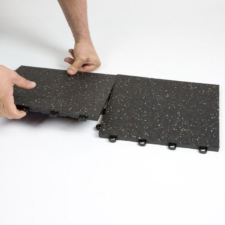 Interlocking Rubber Floor Tiles   Black W/ Confetti Flecks (locking View)