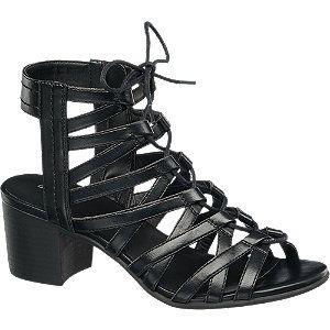 sandały na obcasie Graceland czarny