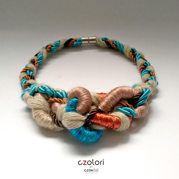 Twisted organic yarn wrapped necklace made of yarn, fibre and rope, by Czolori. http://czokildihu.bigcartel.com/