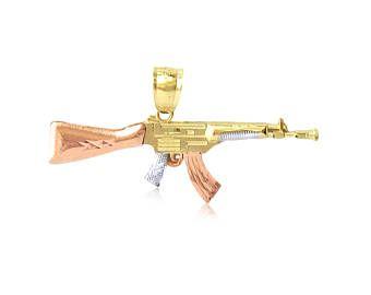 10K tinta giallo bianco rosa ciondolo oro fucile pistola - le donne AK-47 macchina collana fascino maschile