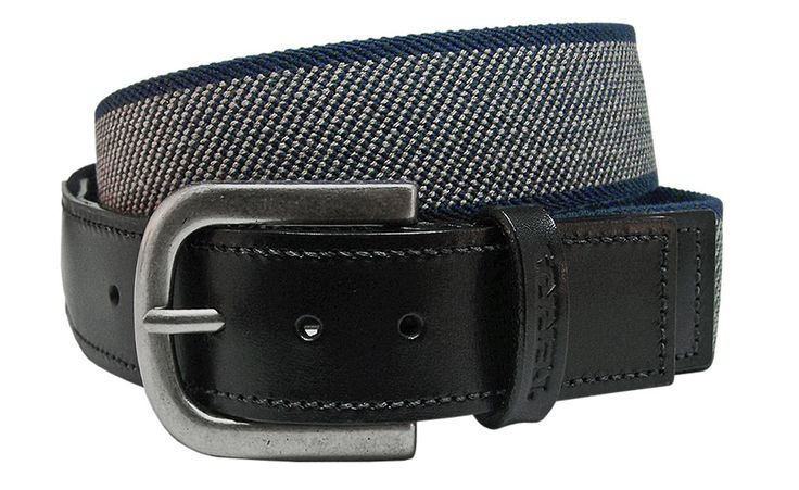 Added Comfort Stretch Web Workwear Belt with Stitched Leather Tabs and Silver Buckle - $38.00