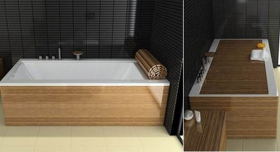 wooden-layered bathtub that comes with a wooden roll-matt which uncovers/covers the bathtub to serve as a massage seat.