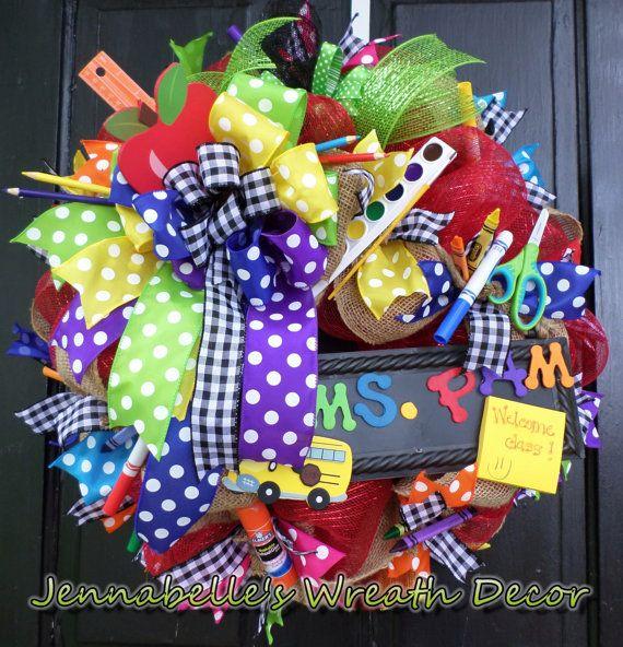 "22"" Back to School Wreath, Burlap Wreath, Mesh Wreath, Teacher Wreath, Apple Wreath-Teacher Appreciation"