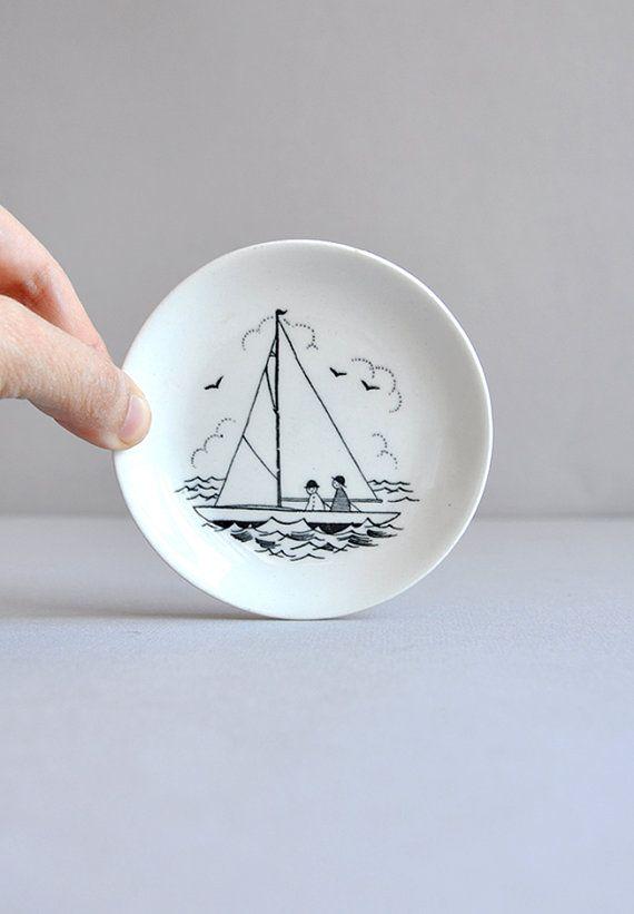 Tiny Emilia Nautical Sail Boat Plate Arabia of by MisterTrue, $12.00