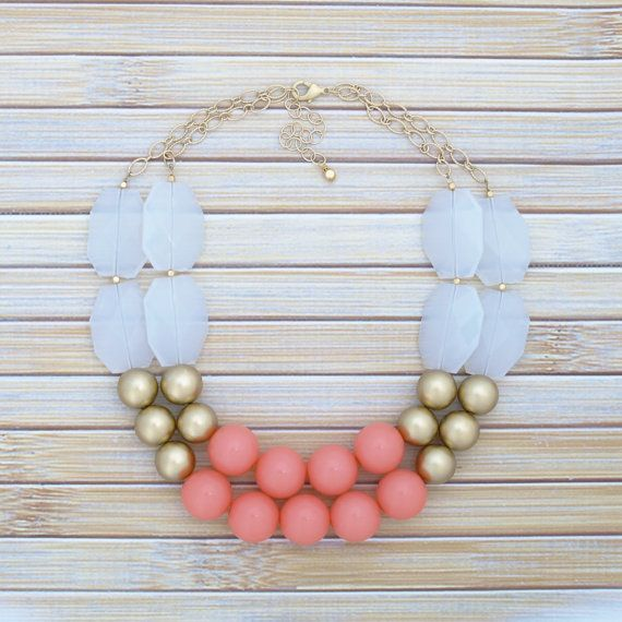 Hey, I found this really awesome Etsy listing at https://www.etsy.com/no-en/listing/206967050/coral-gold-chunky-large-bead-necklace