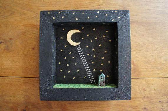 Diorama frame ladder to the moon par MoonAndWoodShop sur Etsy, €37.00