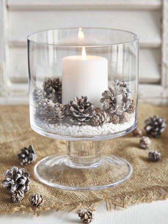 Bougeoir en verre pour la décoration de Noël