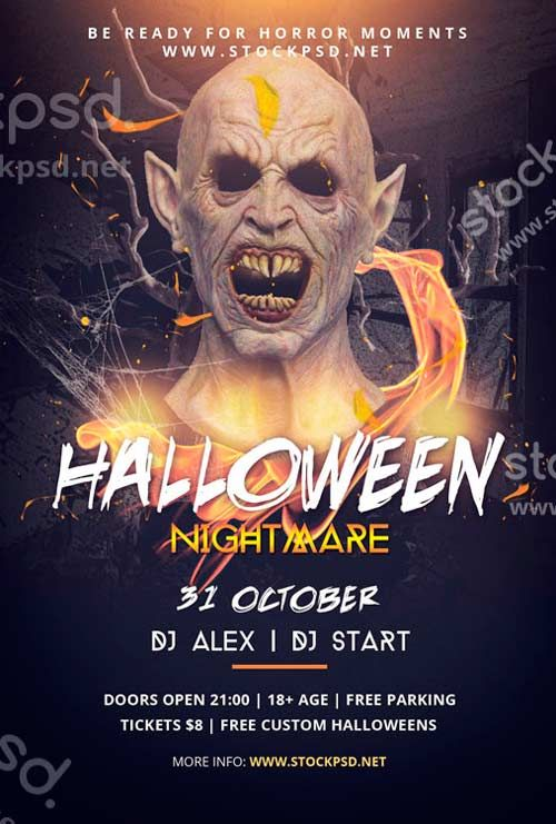 Halloween nightmare free psd flyer template http freepsdflyercom halloween nightmare free for Free halloween flyers templates