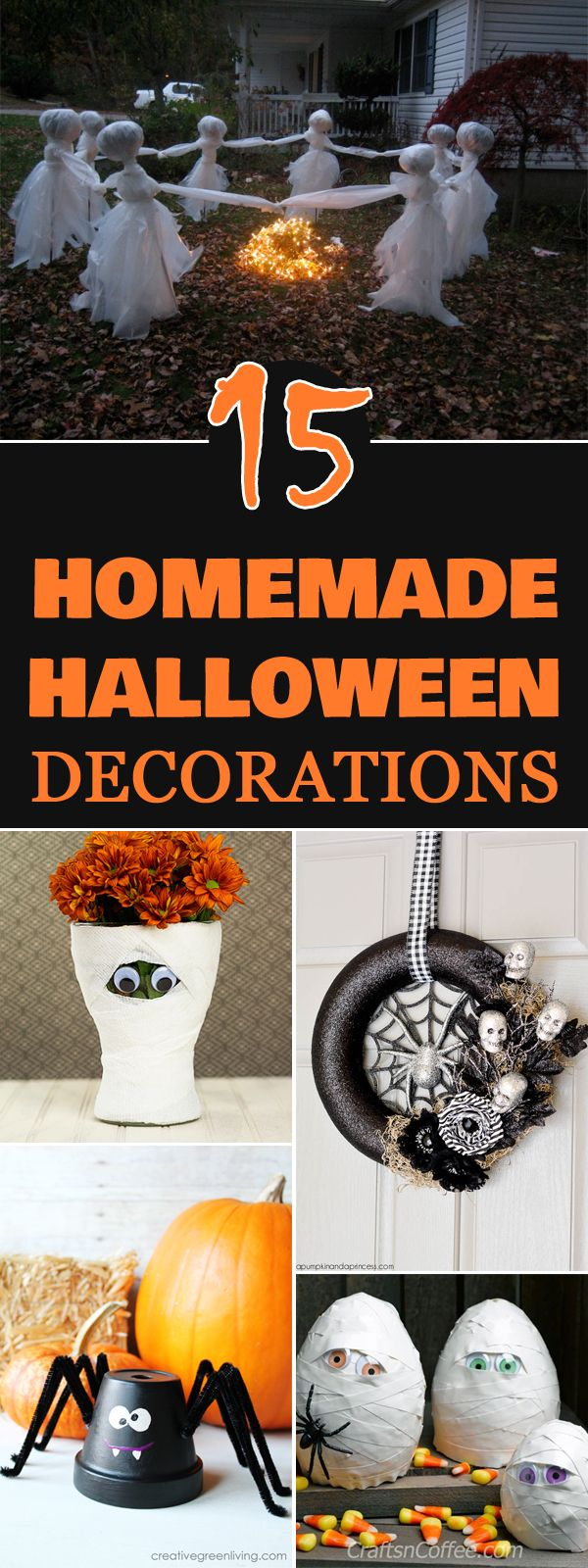 Diytotry 15 Easy Homemade Halloween Decorations Art Craft Home Projects Pinterest
