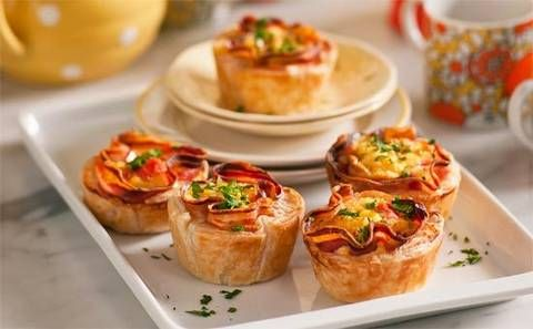 Breakfast pies: Get your day off to a sunny start with a neat little pastry parcel of eggs, pancetta and tomato. Delish!