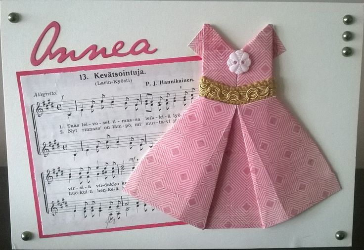 Birthday card for woman. Origami dress. / Syntymäpäiväkortti naiselle. Mekko on taiteltu Origami. Onnea-stanssi: PaperiSaDe.