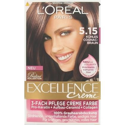 Loreal L'Oreal Excellence Permanente Crème Haarverf nr. 5.15 Cognac Bruin  Description: L'Oreal Excellence Permanente Crme Haarverf nr. 5.15 Cognac Bruin L'Oral Paris Excellence Crme IJs Kastanje Bruin 5.15 geeft een volle egale mooie kastanje bruine kleur. De permanente crme kleuring zorgt voor een optimale dekking van de grijze haren. Ook zorgt de crme voor een drievoudige bescherming van het haar. De Excellence serum verzorgt het beschadigde haar. Hierdoor worden vooral de punten van het…