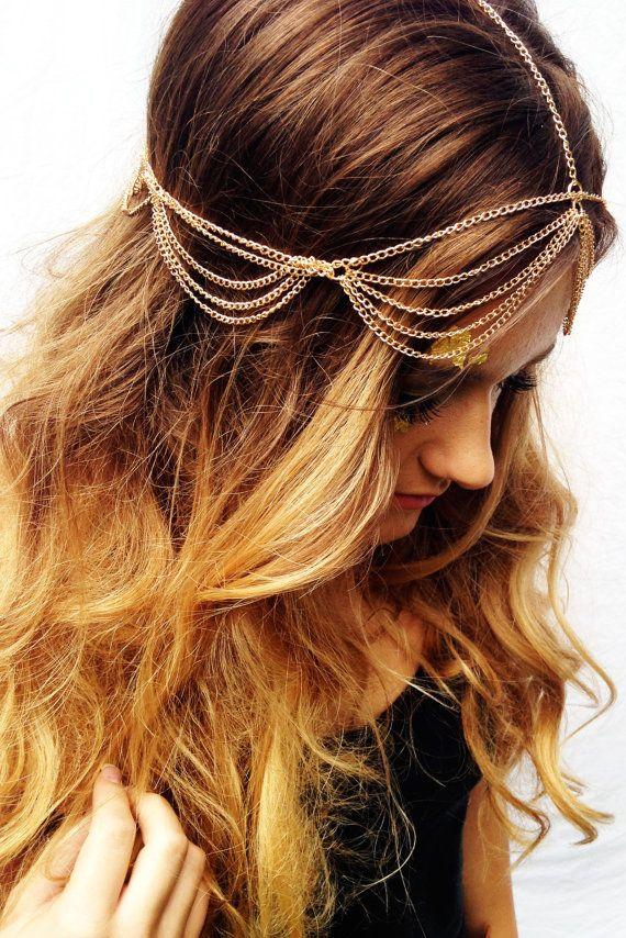 Boho Head Chain Gold Bohemian Hair Chain Music Festival Accessories Summer Women's Hair Trendy Tumblr Hipster Fashion $15