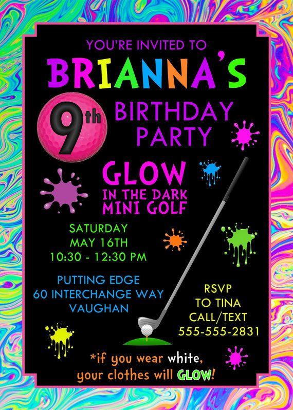 neon mini golf cumplea u00f1os invitaci u00f3n por